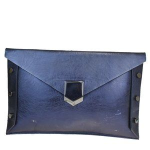 JIMMY CHOO Studded Clutch Hand Bag Leather Blue